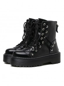 Punk Gothic Pure Black Zipper Thick Soles Round-toe Platform Shoes Women's Martin Boots