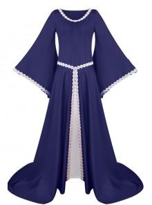 Medieval Retro Court Lace Horn Sleeves High Waist Slim Large Hem Dress