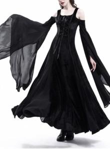 Black Stretch Velvet Off-the-Shoulder Medieval Dress