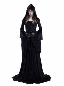 Gothic Medieval Vampire Style Black Hooded Dress