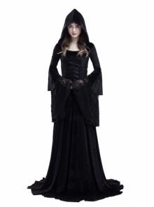 Gothic Medieval Vampire Style Black Hooded Dress