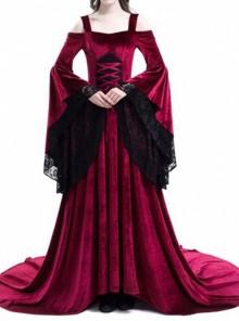 Renaissance Fairy Tale Red Velvet Off-the-shoulder Medieval Dress