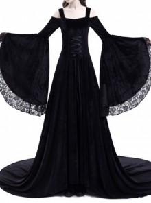 Medieval Gothic Black Off-the-shoulder Long Trumpet Sleeves Dress