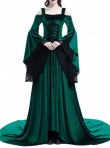 Medieval Gothic Green Off-the-shoulder Long Trumpet Sleeves Dress