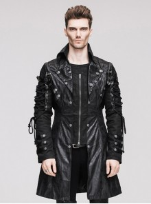 Steampunk Gothic Black Men's Medium Long Style Imitation Leather Coat
