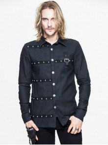 Steampunk Black Pure Cotton Metal Buttons Long Sleeve Shirt