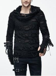 Steampunk Street Rock Style Broken Hole Element Black Long Sleeve T-Shirt