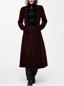 Gothic Retro Palace Style Crucifix Zipper Long Sleeve Long Coat