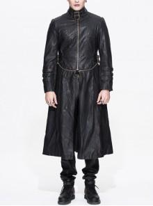 Steampunk Black Long Windbreaker Short Jacket Two Wear Ways