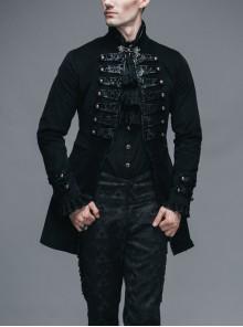 Steampunk Gothic Palace Style Black Slim Fit Long Windbreaker