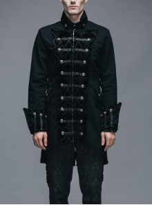Steampunk Gothic Chinese Style Black Slim Fit Coat