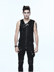 Steampunk Black Slim Fit Sleeveless T-shirt