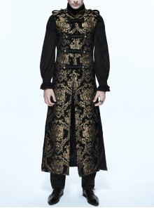 Steampunk Vision World Embroidery Sleeveless Long Coat