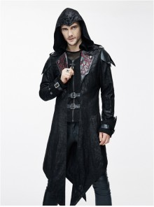 Steampunk Gothic Stand Collar Vampire Priest Men's Long Windbreaker