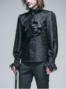 Steampunk Gothic Lace Bow-tie Retro Prom Loose Men's Shirt