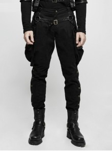 Gothic Black Steam Punk Men's Riding Breeches