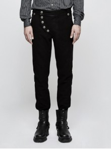 Gothic Military Uniform Black Men's Trousers