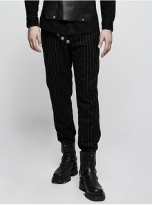 Gothic Military Uniform Black Stripe Men's Trousers