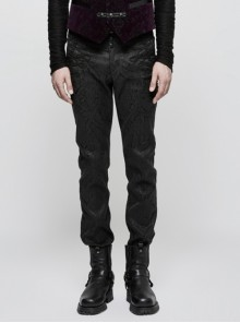 Chinese Style Embroidery Gothic Black Retro Jacquard Men's Pants