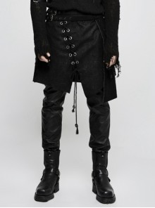 Punk Black Men's Gothic Irregular Suede Skirt