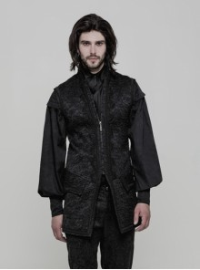 Gothic Black Retro Victorian Gorgeous Men's Long Vest