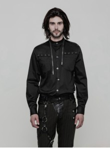 Punk Black Uniform Gothic Long Sleeve Men's Shirt