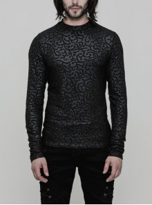 Black Jacquard Pattern Men's Gothic Pattern T-Shirt