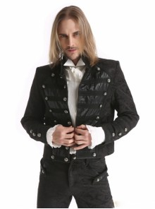 Black Retro Jacquard Pattern Single-breasted Men's Gothic Short Jacket