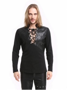 Black Warrior Style Men's Gothic Long Sleeves T-Shirt