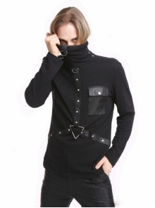 Punk Black Metal Ring Men's Gothic High-Necked Shirt