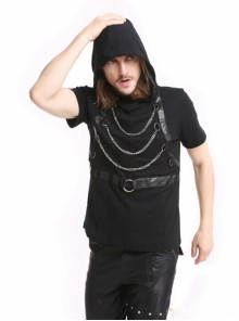 Punk Black Hooded Chain Gothic Men's Short Sleeves Shirt