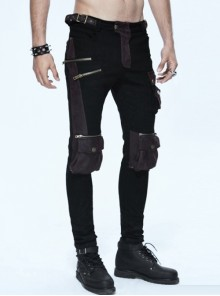 Punk Black And Coffee Men's Gothic Pockets Trousers