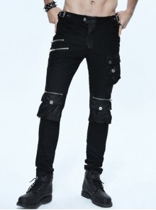 Gothic Black Punk Pockets Male Pants