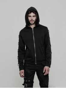 Punk Black Metal Rings Men's Gothic Hoodie Coat