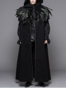 Punk Gothic Hooded Thickened Detachable Feathered Shawl Men's Long Coat