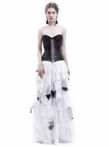 Gothic Punk Romantic White And Black Prom Party Long Dress