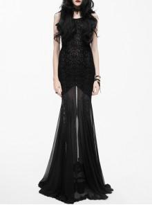 Punk Black Flowers Embroidery Hem Backless Gothic Sling Long Dress