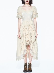 Steampunk Creamy-white Square-collar High Waist Lace-up Puff Sleeve Long Dress