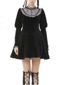 Doll Black Sweet Punk Daily Long Sleeve Dress