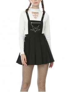 Punk Locomotive Star Shaped Chain Rebel Black Suspender Skirt