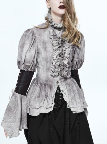 Steampunk Victorian Gray Ruffle High Collar Retro Personality Lace-up Do The Old Slim Shirt