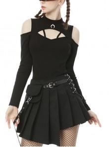 Crescent Pendant Punk Rock Black Slim Long Sleeve Top