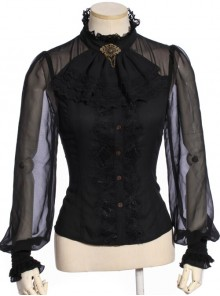 Steampunk Black Lace Ruffle Lantern Sleeves Long Sleeve Shirt With Collar Knot