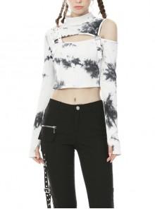 Punk White T-shirt Irregular Tie-dye Long Sleeve Crop-top