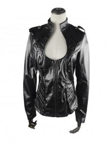 Punk Gothic Black Low-cut Sexy Thin Military Uniform Leather Jacket