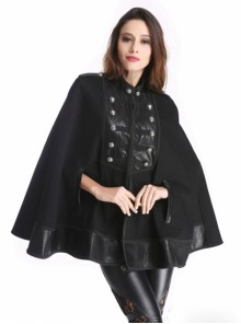 Black Retro Palace Style Gothic Double-Breasted Womens Cloak