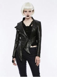Gothic Black Punk Women's Irregular Shaped PU Leather Jacket
