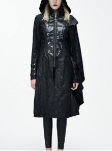 Palace Style Steam Punk Black Hooded Standing Collar Women's Medium Length Coat