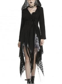 Punk Black Irregular Hem Hooded Shredded Cardigan Thin Outer Clothing