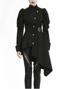 Warrior Punk Stand-up Collar Asymmetric Button Irregular Hem Black Jacket